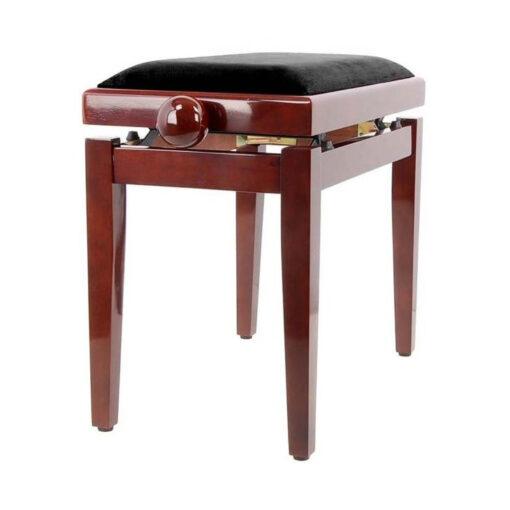 Pianopall i blank mahogny med höj- och sänkbar funktion - Pianomagasinet