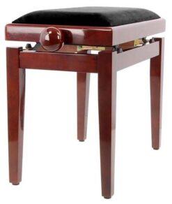 Pianopall i blank mahogny med höj- och sänkbar funktion