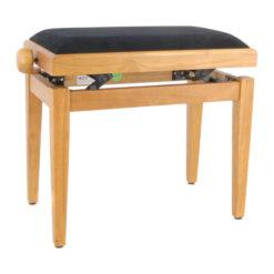 Pianopall i satinerad ek med höj- och sänkbar funktion - Pianomagasinet