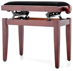 Pianopall i satinerad mahogny med höj- och sänkbar funktion