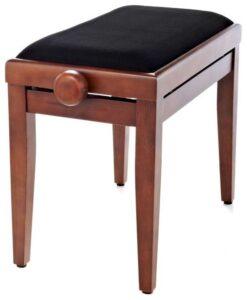 Pianopall i satinerad valnöt med höj- och sänkbar funktion