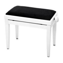 Pianopall i matt vit med höj- och sänkbar funktion - Pianomagasinet