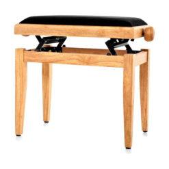 Pianopall i satinerad bok med höj- och sänkbar funktion - Pianomagasinet