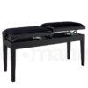 Tvåsitsig pianopall i matt svart med individuell höj- och sänkbar funktion
