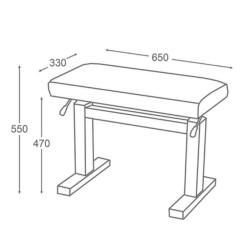 JAHN hydraulisk pianopall i matt svart och sittdyna i skaisvart - Pianomagasinet