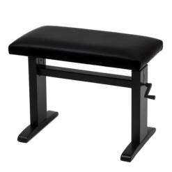 JAHN hydraulisk pianopall i blank svart med vevhandtag, svart velour - Pianomagasinet