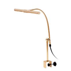 Flygel- och digitalpianolampa med klämfäste i blank mässing och LED-belysning - Pianomagasinet