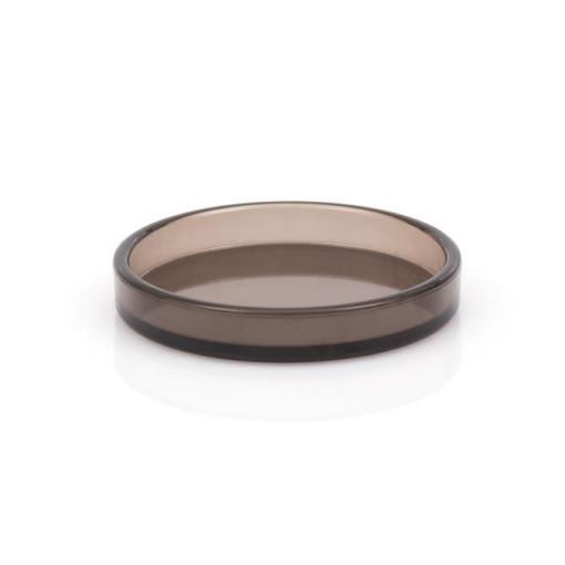 Flygelunderlägg i transparent brun plast, 80 mm innerdiameter - Pianomagasinet