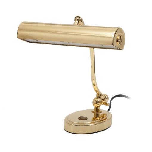 Klassisk pianolampa i blank mässing med LED-belysning - Pianomagasinet