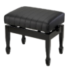 Pianopall med konsertmekanism i blank svart med formade ben - Pianomagasinet