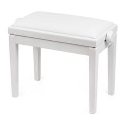 Blank vit pianopall med sittdyna i vitt syntetskinn - Pianomagasinet