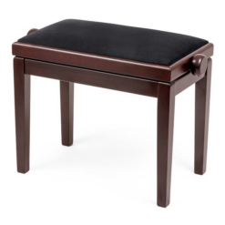Pianopall i sidenmatt ljus mahogny med sittdyna i svart velour - Pianomagasinet
