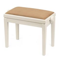 Elfenbensvit pianopall med sandfärgad sittdyna - Pianomagasinet