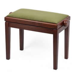 Pianopall i ljus valnöt med sittdyna i grön velour - Pianomagasinet