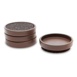 Pianounderlägg i brun plast med ISO-FLOOR-inlägg - Pianomagasinet